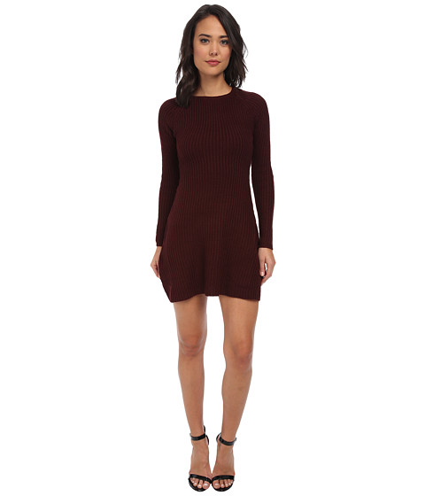 Brigitte Bailey - L/S Sweater Dress (Port) Women's Dress