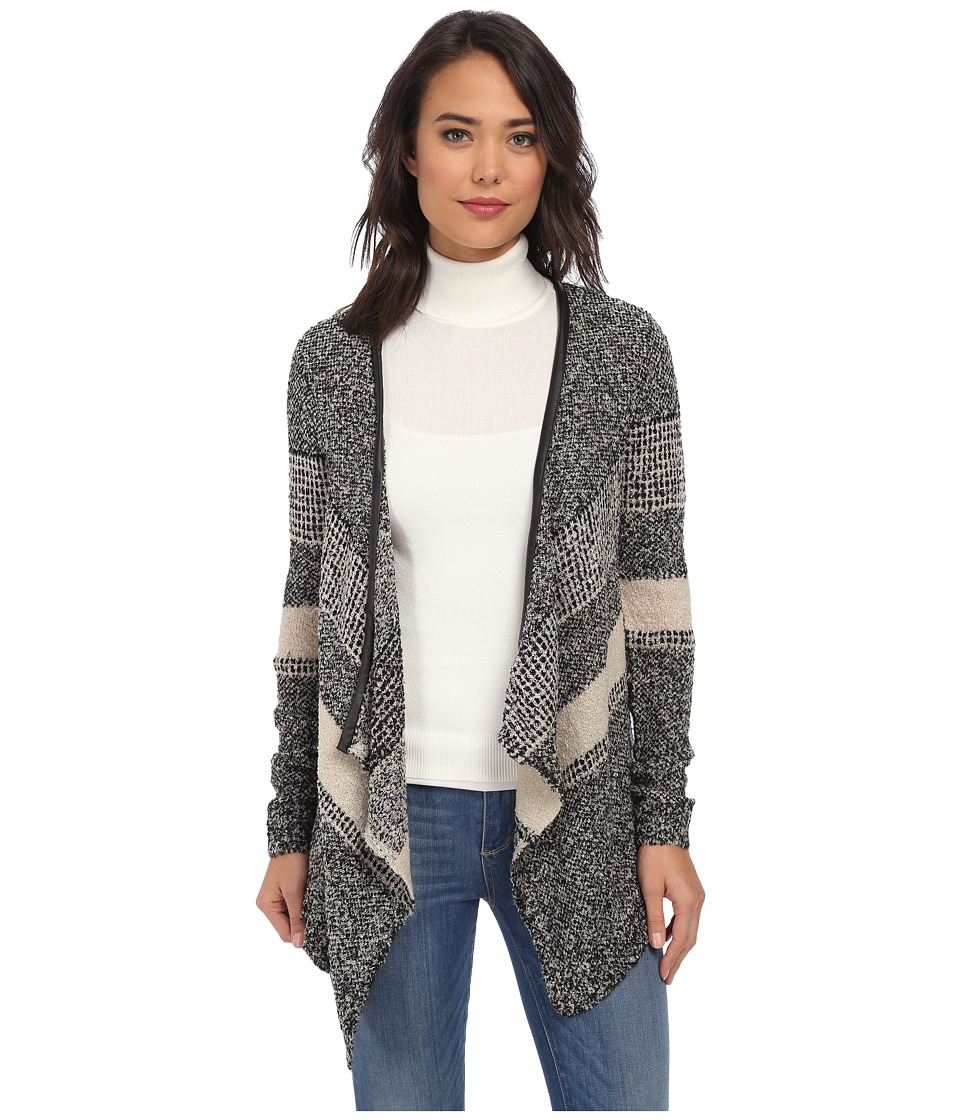 Brigitte Bailey - Striped Fuzzy Knit Cardigan (Black) Women