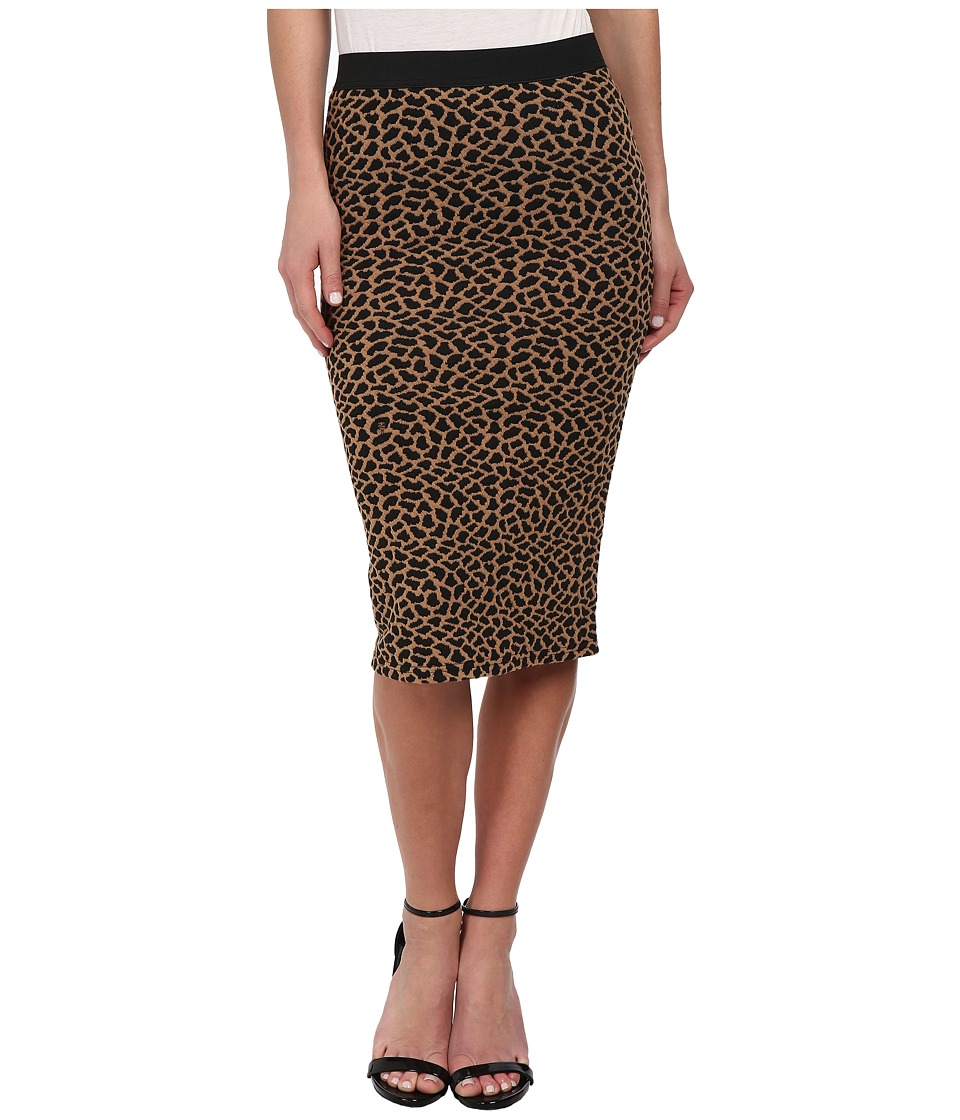 Brigitte Bailey - Leopard Print Textured Midi Skirt (Cognac) Women's Skirt