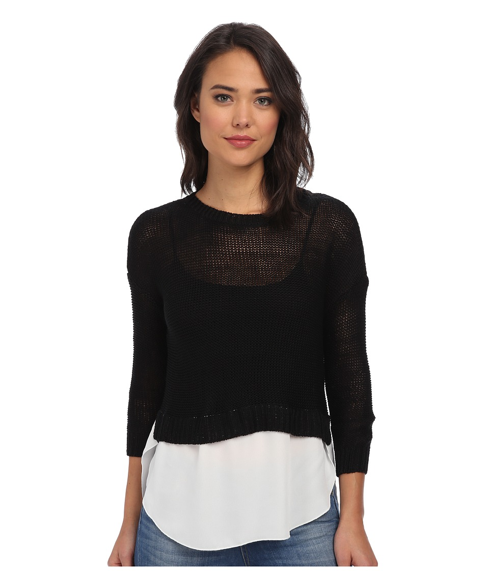Brigitte Bailey - Sweater w/ Woven Blouse Bottom (Black) Women's Sweater