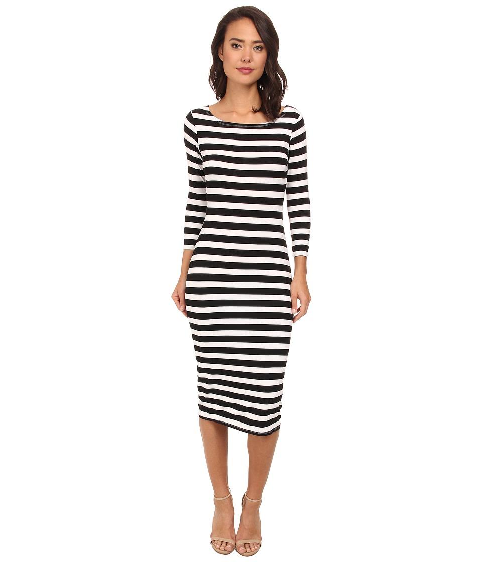 Brigitte Bailey - Striped Midi Dress (Black/White) Women's Dress