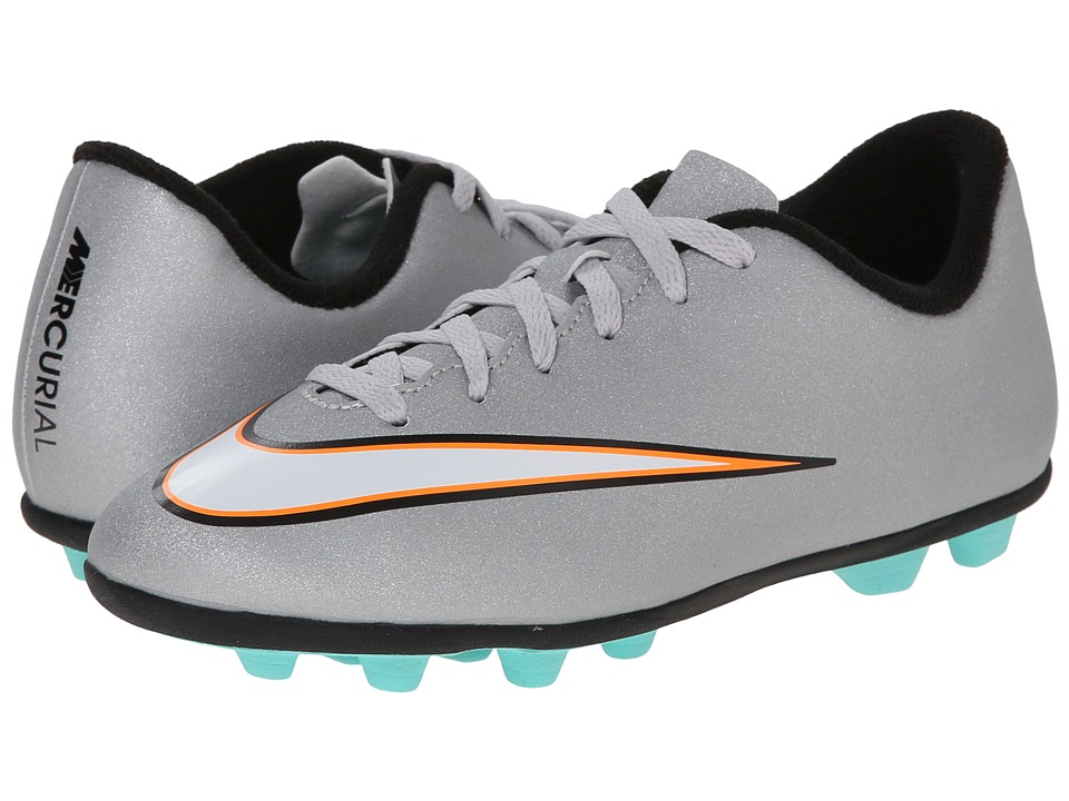 Nike Kids - Jr Mercurial Vortex II CR FG-R Soccer (Little Kid/Big Kid) (Metallic Silver/Hyper Turquoise/Black) Kids Shoes