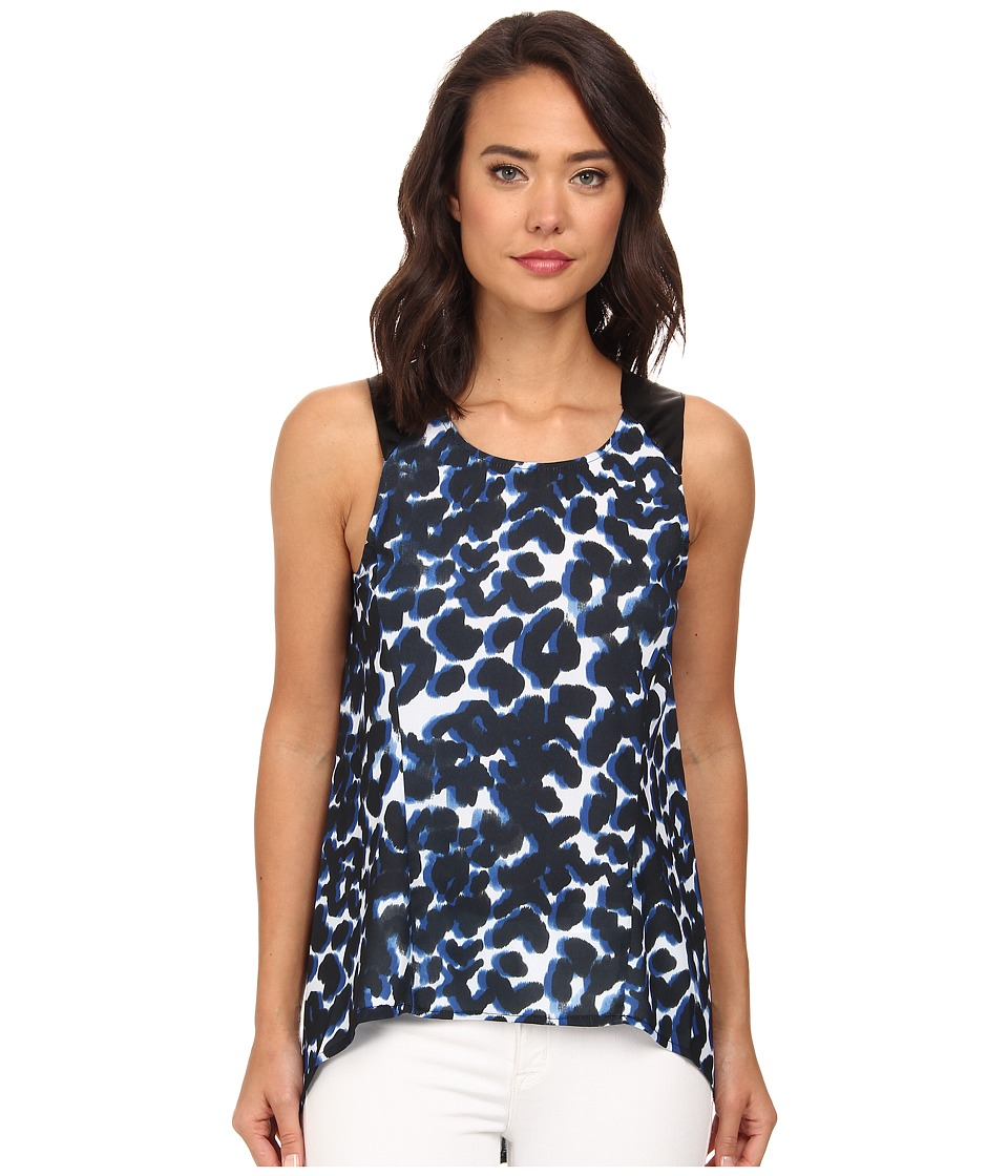 Brigitte Bailey - Leopard Print Woven Blouse (Blue) Women's Blouse