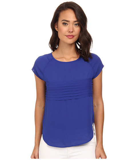 Brigitte Bailey - Carly Pleated Short Sleeve Woven Blouse (Cobalt/Cobalt/Academy) Women's Blouse