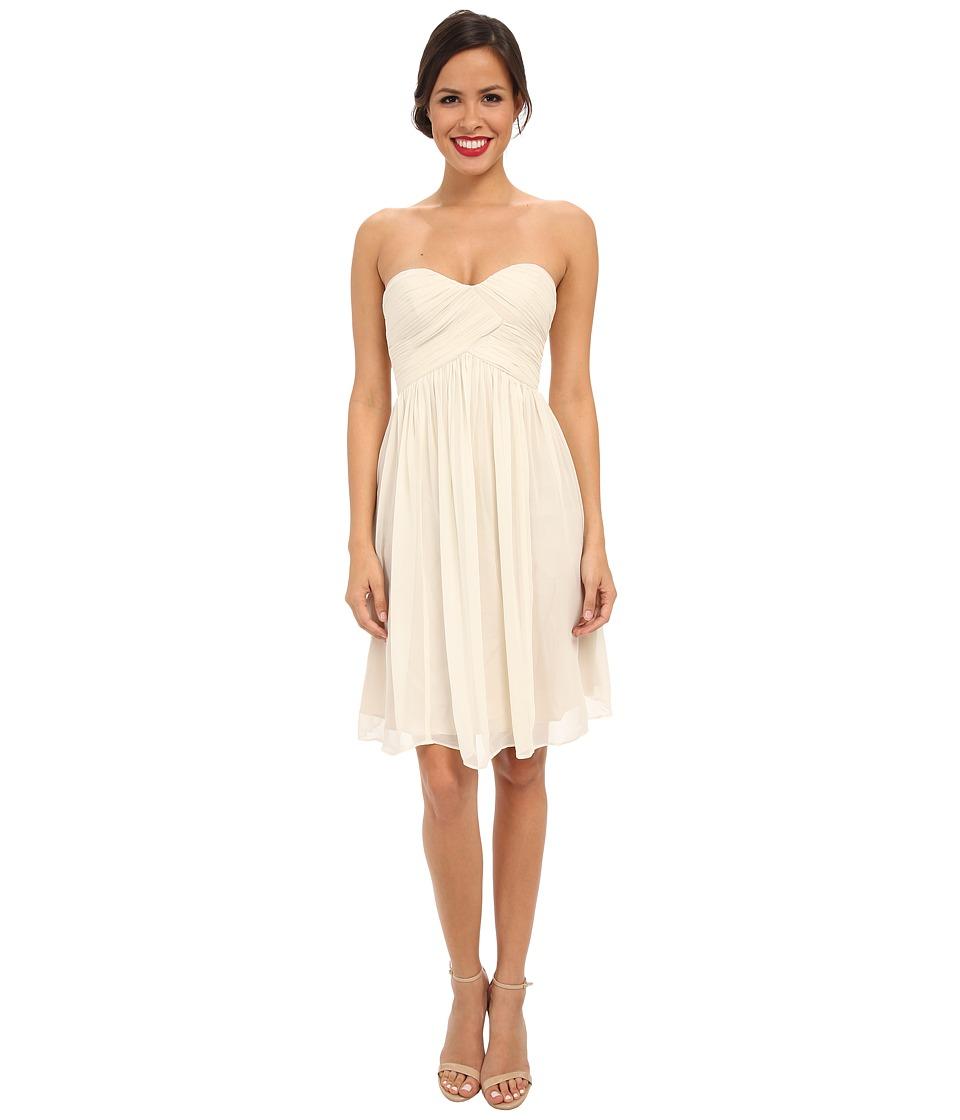 Donna Morgan Morgan Short Silk Chiffon Strapless Dress (Candlelight) Women
