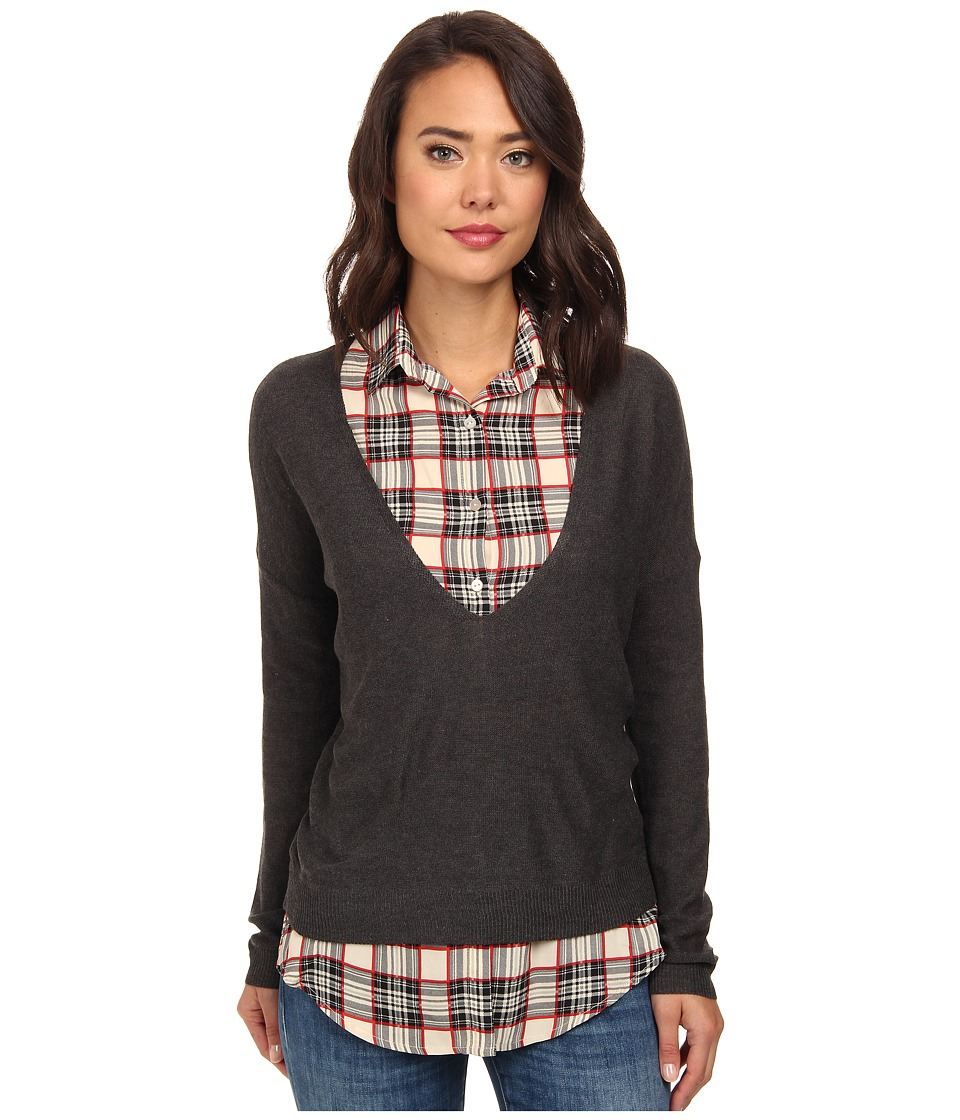 Gabriella Rocha - Sweater w/ Printed Collared Blouse (Grey) Women's Blouse