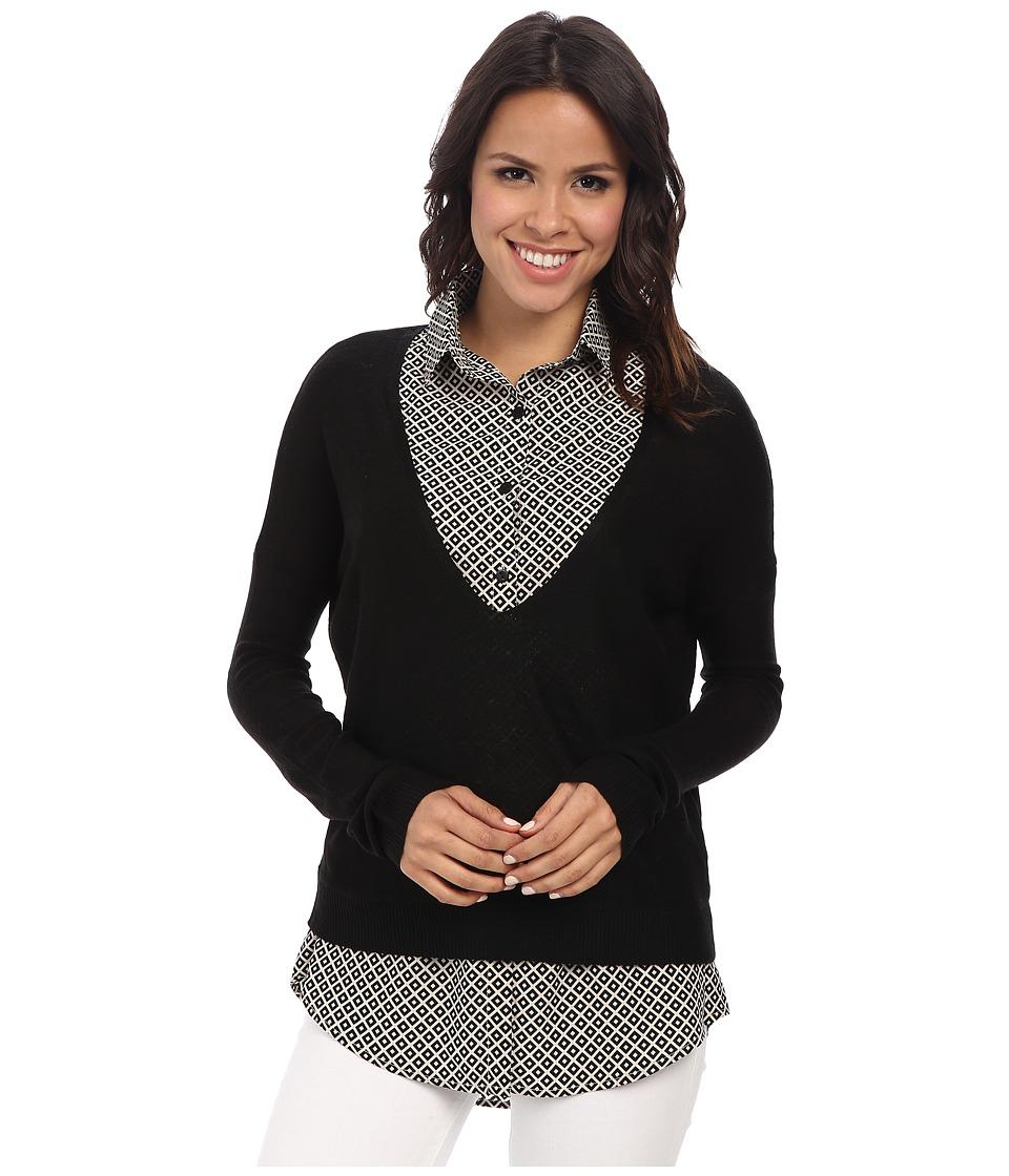 Gabriella Rocha - Sweater w/ Printed Collared Blouse (Black) Women's Blouse plus size,  plus size fashion plus size appare