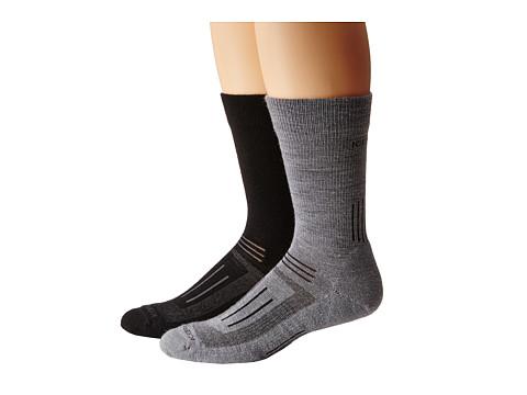 Icebreaker - Hike Light Crew 2 Pair (Fossil/White/Monsoon) Men's Crew Cut Socks Shoes
