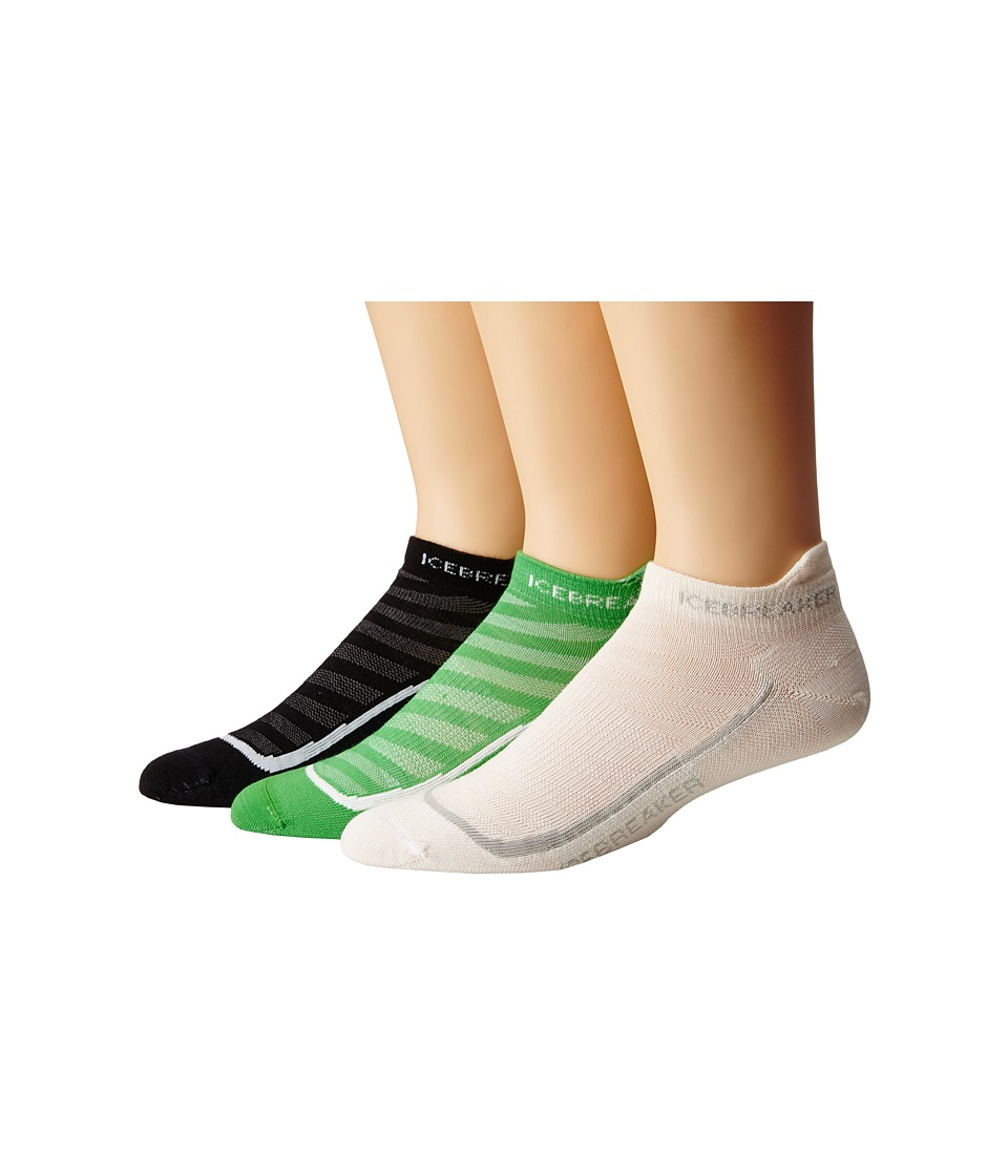 Icebreaker - Run + Ultra Light Micro 3 Pair (Black/Pearl/Black) Men's Low Cut Socks Shoes