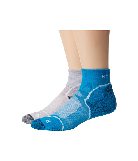 Icebreaker - Hike + Light Mini 2 Pair (Blizzard Heather/White/Oil) Women's Low Cut Socks Shoes