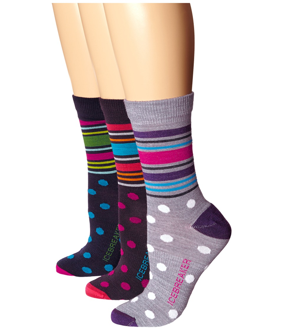 Icebreaker - Lifestyle Ultra Light 3Q Crew 3 Pair (Admiral/Magenta/Cruise) Women's Crew Cut Socks Shoes
