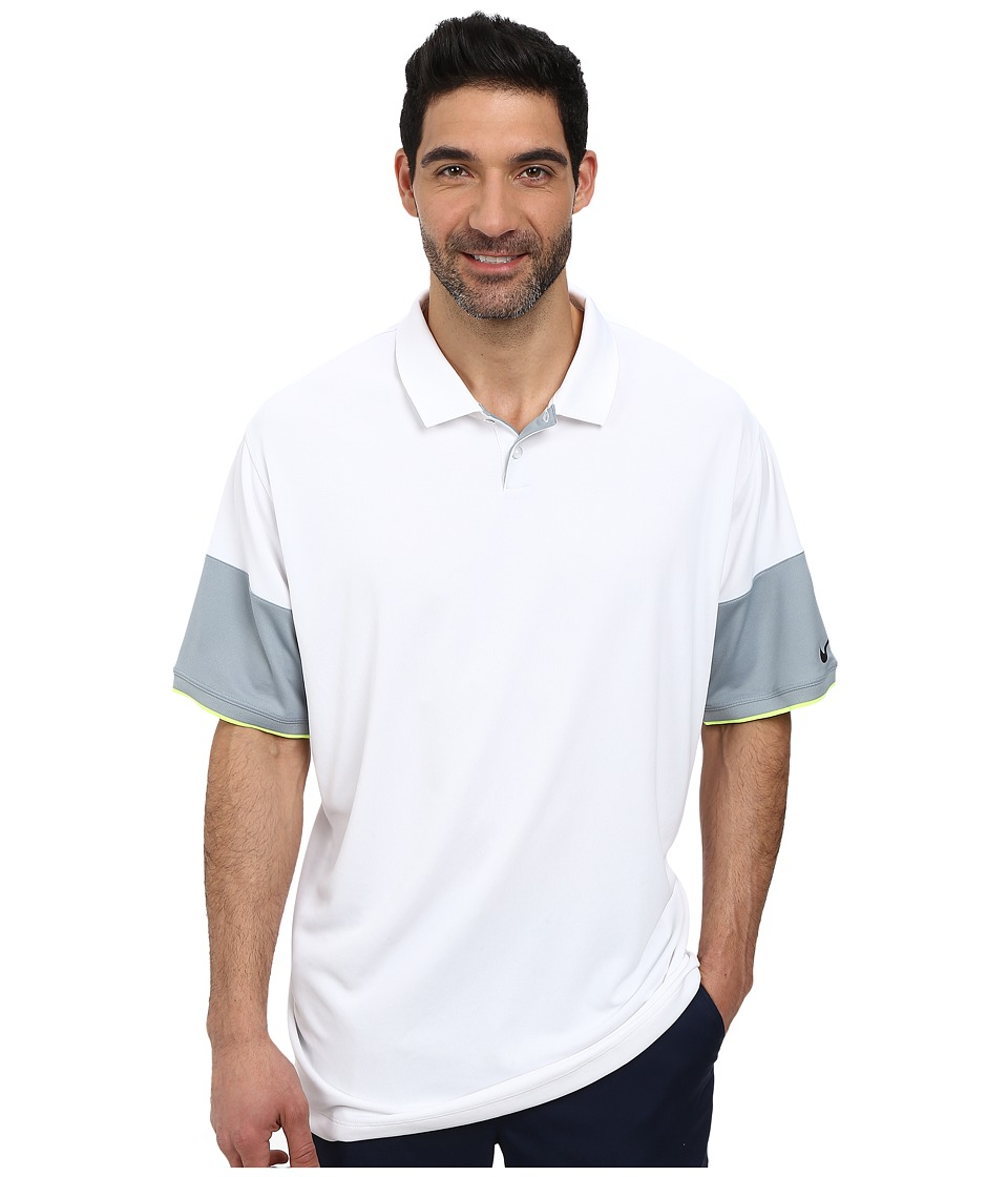 Nike Golf - Major Moment Commander Polo (White/Dove Grey/Volt/Anthracite) Men's Short Sleeve Knit