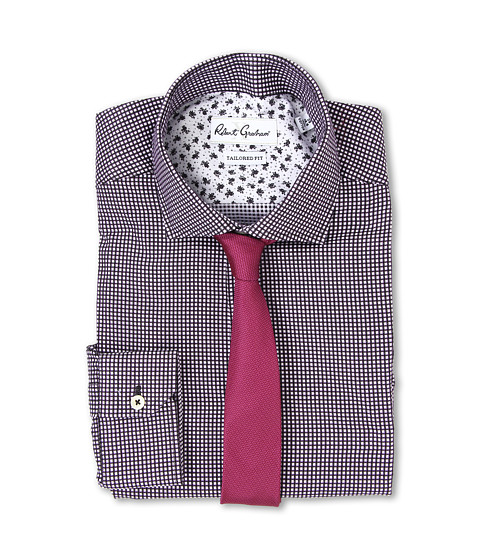 Robert Graham - X Tailored Fit Brescia Dress Shirt (White/Black) Men's Long Sleeve Button Up