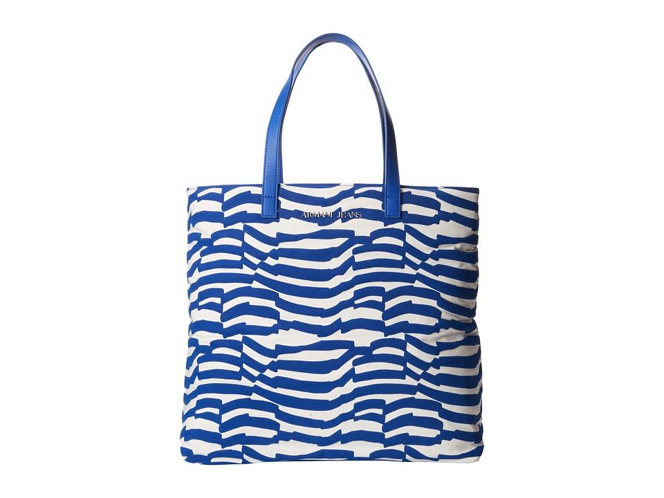 Armani Jeans - Zebra Print Tote Bag (Blue) Tote Handbags