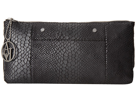 Armani Jeans - Snakeprint Clutch (Black) Wristlet Handbags