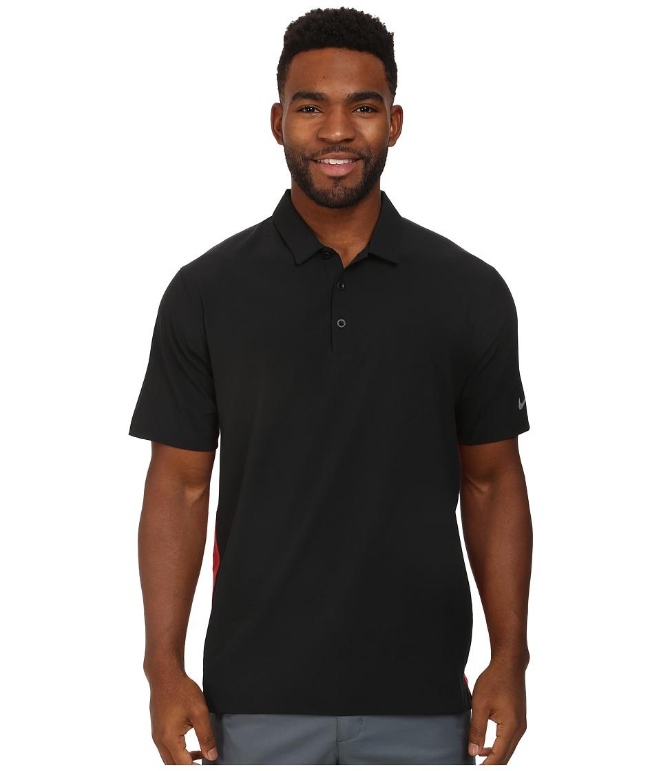 Nike Golf - Lightweight Woven Polo (Black/Daring Red/Wolf Grey) Men