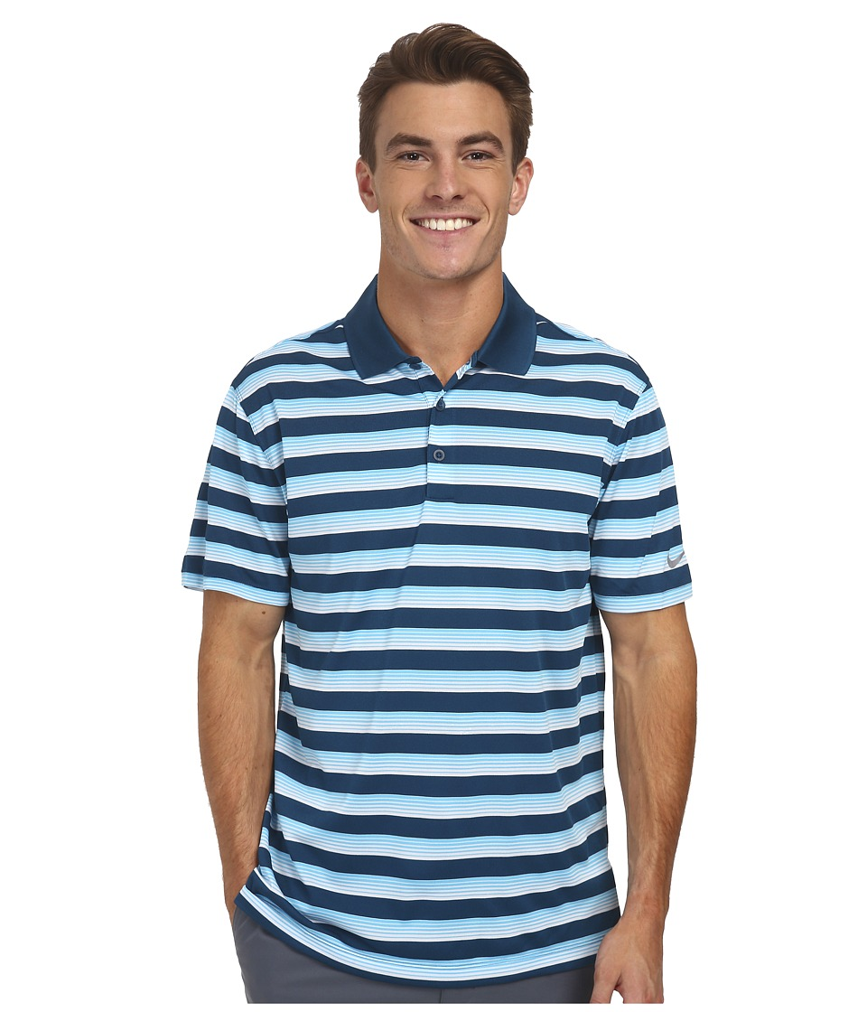 Nike Golf - Tech Vent Stripe Polo (Blue Force/Clearwater/Wolf Grey) Men's Short Sleeve Knit
