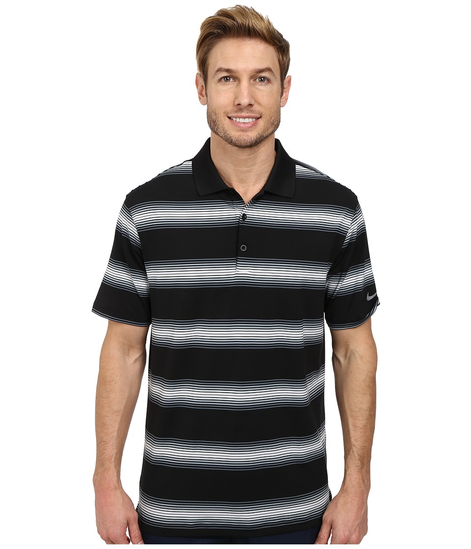 Nike Golf - Tech Ultra Stripe Polo (Black/Blue Graphite/Black/Wolf Grey) Men's Short Sleeve Knit