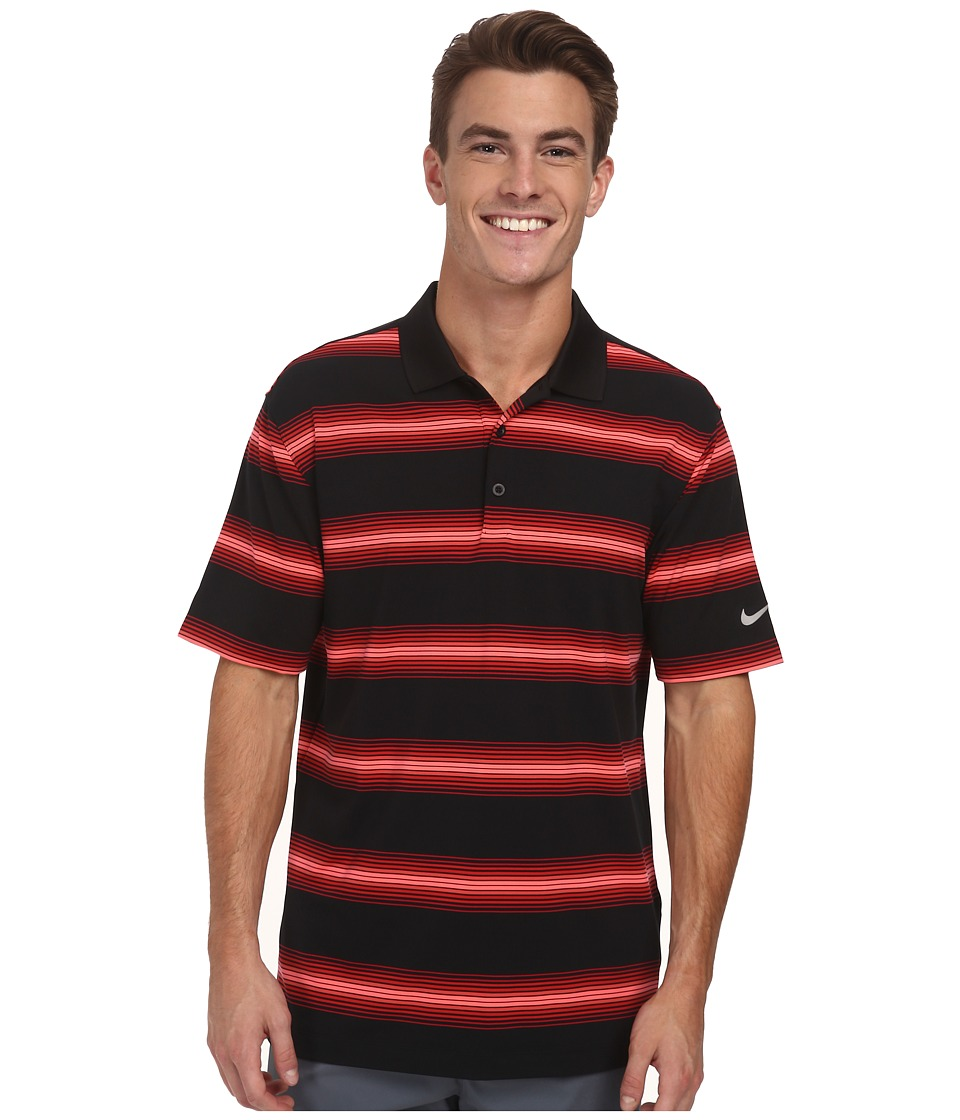 Nike Golf - Tech Ultra Stripe Polo (Black/Gym Red/Black/Wolf Grey) Men's Short Sleeve Knit