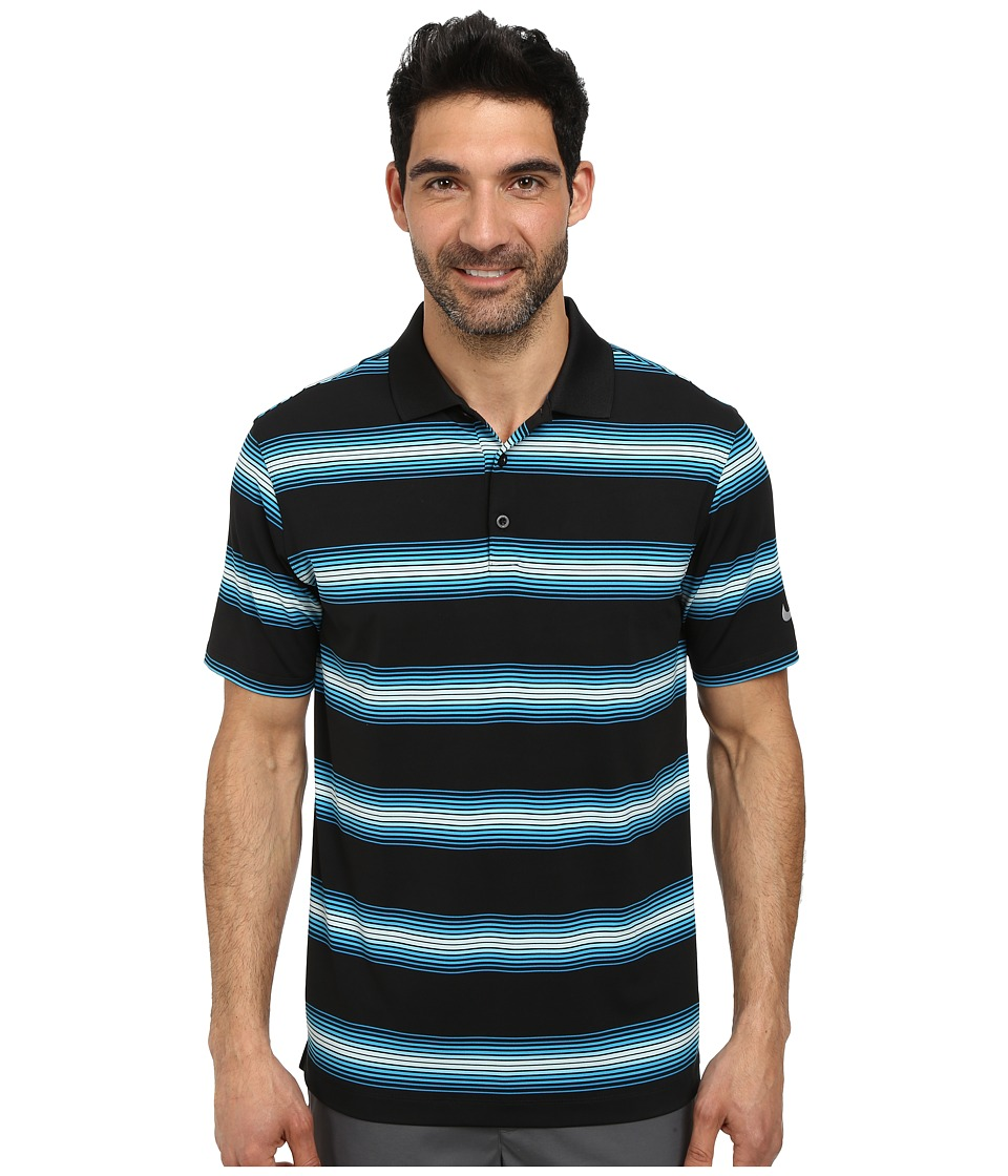 Nike Golf - Tech Ultra Stripe Polo (Black/Light Blue Lacquer/Black/Wolf Grey) Men's Short Sleeve Knit