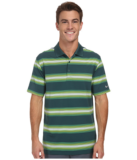 Nike Golf - Tech Ultra Stripe Polo (Dark Emerald/Dark Emerald/Wolf Grey) Men
