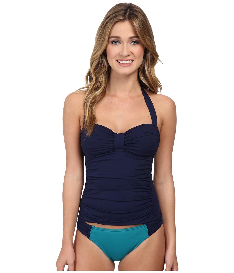 Tommy Bahama - Pearl Tab Haler Tankini (Mare Navy) Women's Swimwear