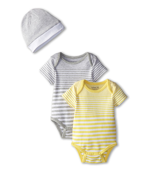 Vince Kids - One-Piece+Hat Box Set (Infant) (Heather Steel/Maize) Kid's Pajama Sets