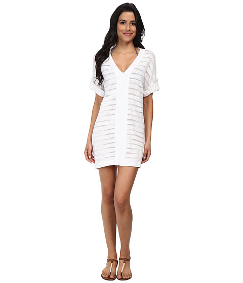 Tommy Bahama - V-Neck Tab Sweater Cover-Up (White) Women's Swimwear