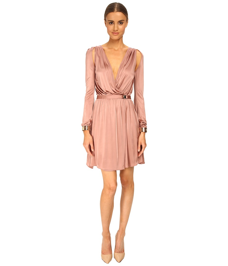 Versace Collection - L/S Pleated Surplice Dress (Desert Rose) Women