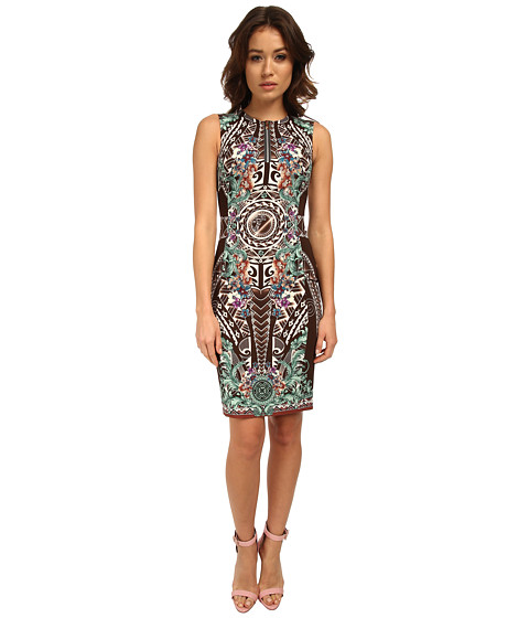 Versace Collection - Graphic Print Crew Neck Sheath Dress (Coffee Print) Women's Dress