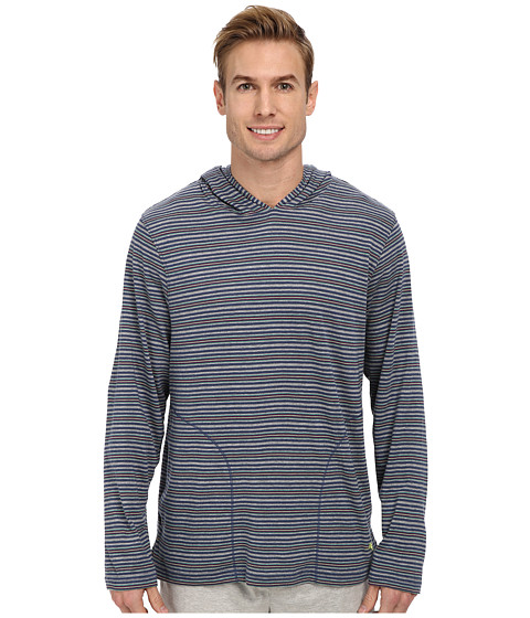 Tommy Bahama - Yarn Dye Feeder Stripe Cotton L/S Tee (Island Stripe Blue Grey Multi Stripe) Men's Pajama