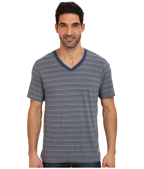 Tommy Bahama - Feeder Stripe V-Neck T-Shirt (Island Stripe Blue Grey Multi Stripe) Men's T Shirt