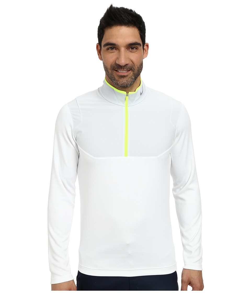 Nike Golf - Dri-Fit 1/2-Zip Top (White/Pure Platinum/Volt/Wolf Grey) Men's Long Sleeve Pullover