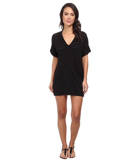 Tommy Bahama - V-Neck Tab Sweater Cover-Up (Black) Women's Swimwear
