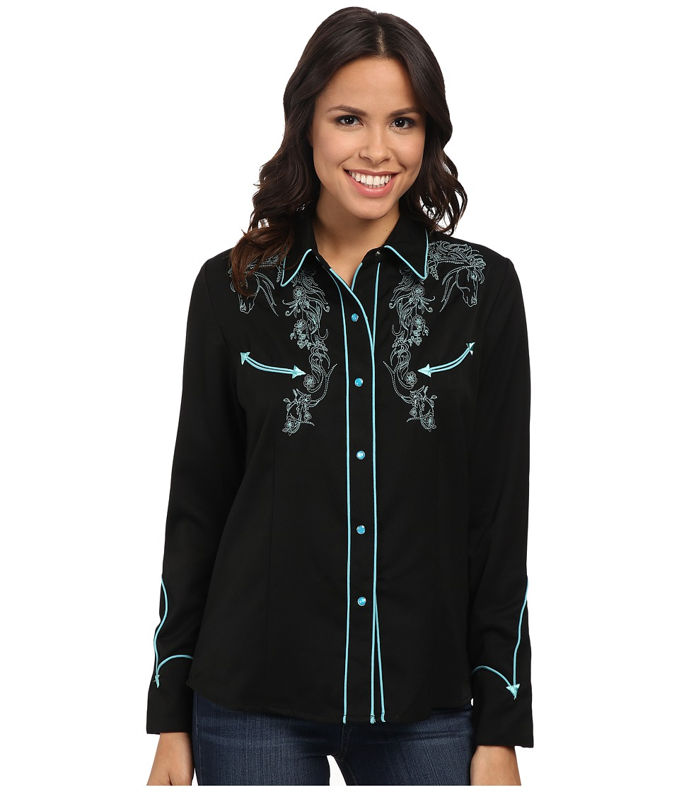 Scully - Horse Lover Shirt (Turquoise) Women's Long Sleeve Button Up