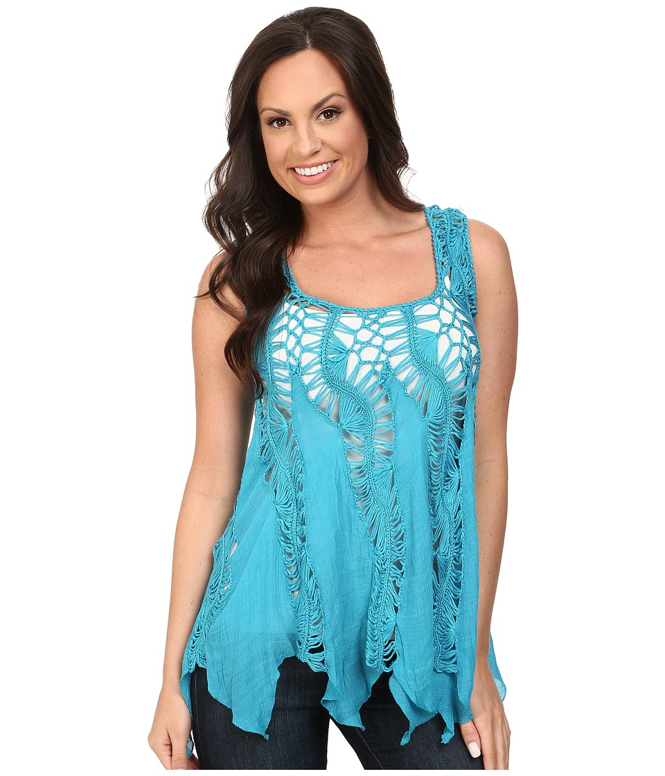 Scully - Honey Creek Kayla Crochet Top (Blue) Women's Clothing
