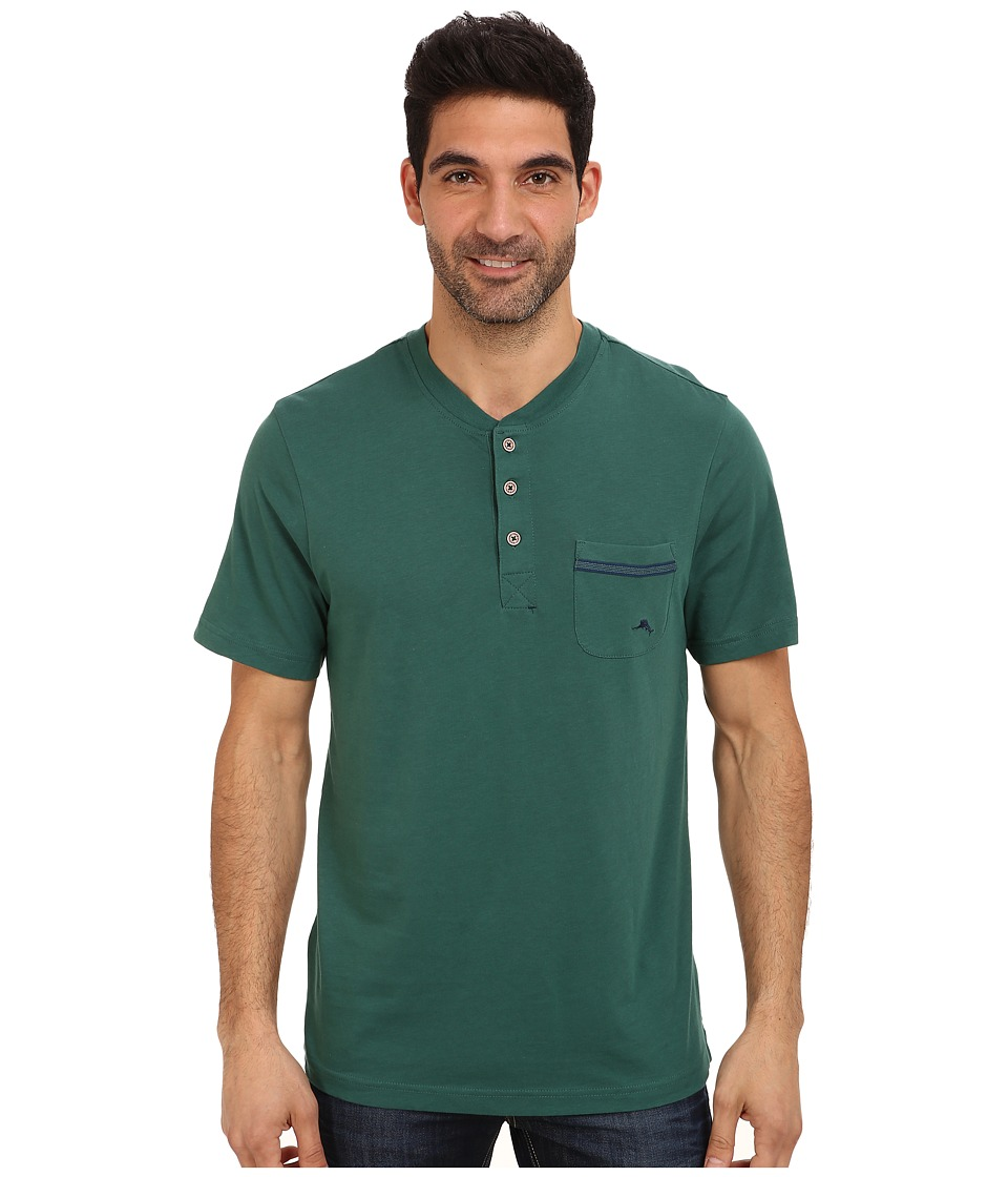 Tommy Bahama - Solid Cotton Modal Jersey Henley (Dark Green) Men