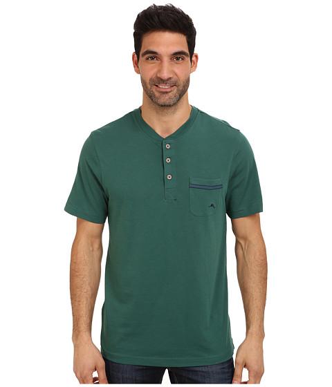 Tommy Bahama - Solid Cotton Modal Jersey Henley (Dark Green) Men