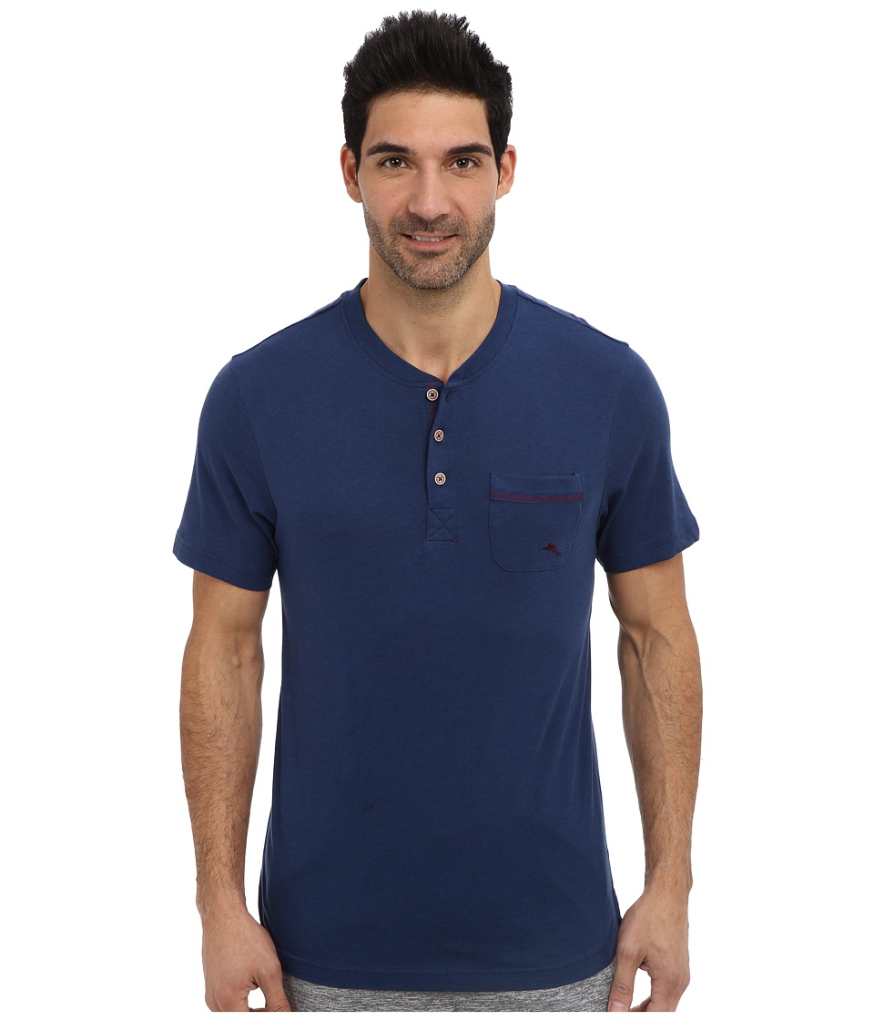 Tommy Bahama - Solid Cotton Modal Jersey Henley (Blueberry Dark Blue) Men