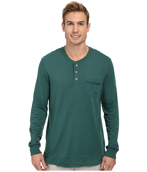 Tommy Bahama - Solid Cotton Modal Jersey L/S Henley Tee (Dark Green) Men's Pajama