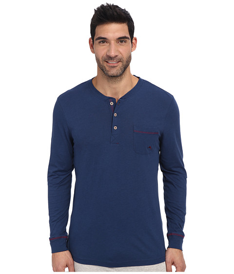 Tommy Bahama - Solid Cotton Modal Jersey L/S Henley Tee (Blueberry Dark Blue) Men's Pajama