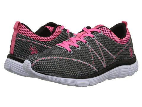 U.S. POLO ASSN. - Flash (Grey/Black/Hot Pink) Women's Shoes