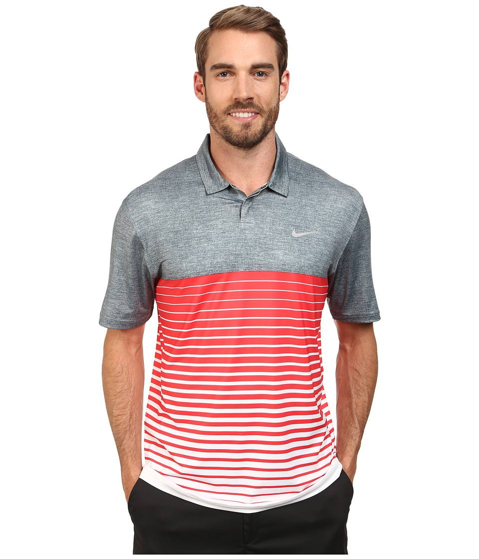 Nike Golf - Bold Stripe Polo (Classic Charcoal/Daring Red/Wolf Grey) Men's Short Sleeve Knit