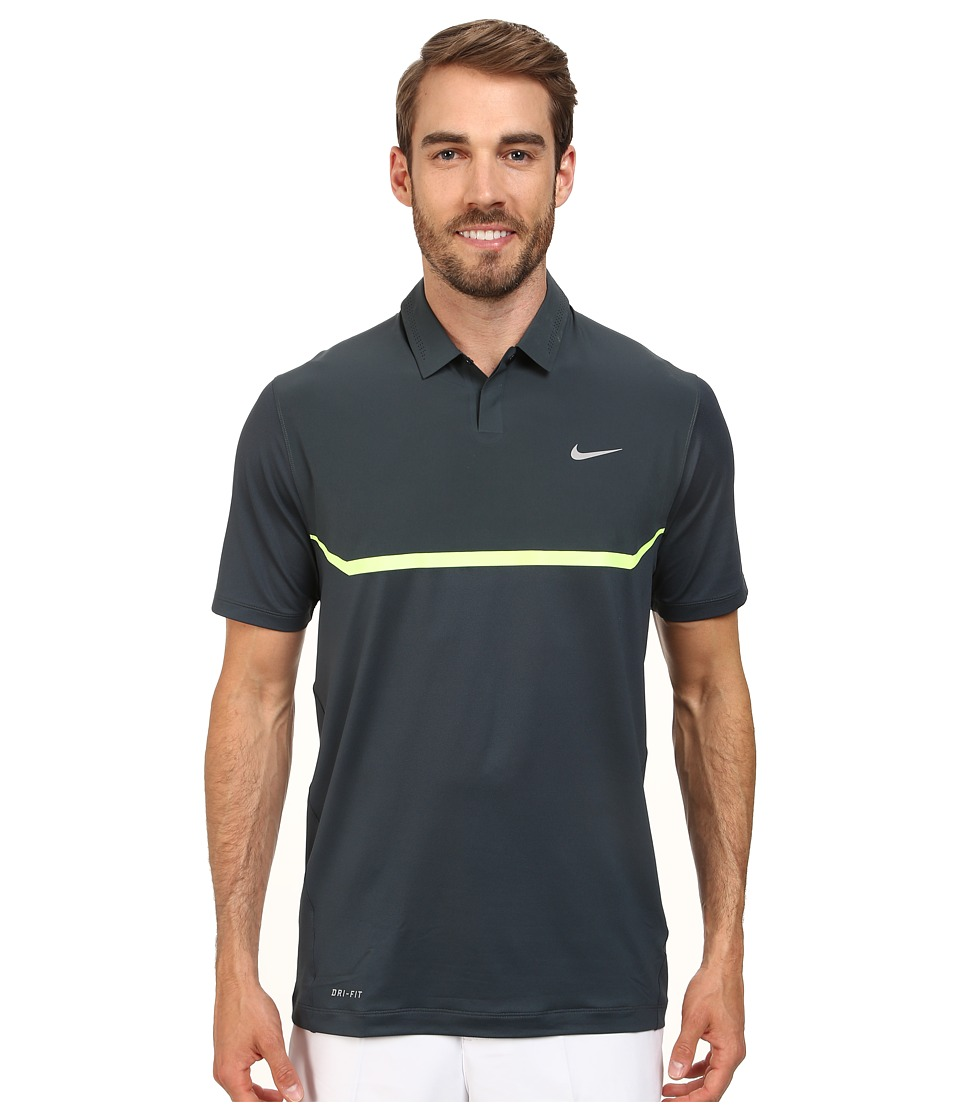 Nike Golf - Elite Cool Carbon Polo (Classic Charcoal/Volt/Wolf Grey) Men