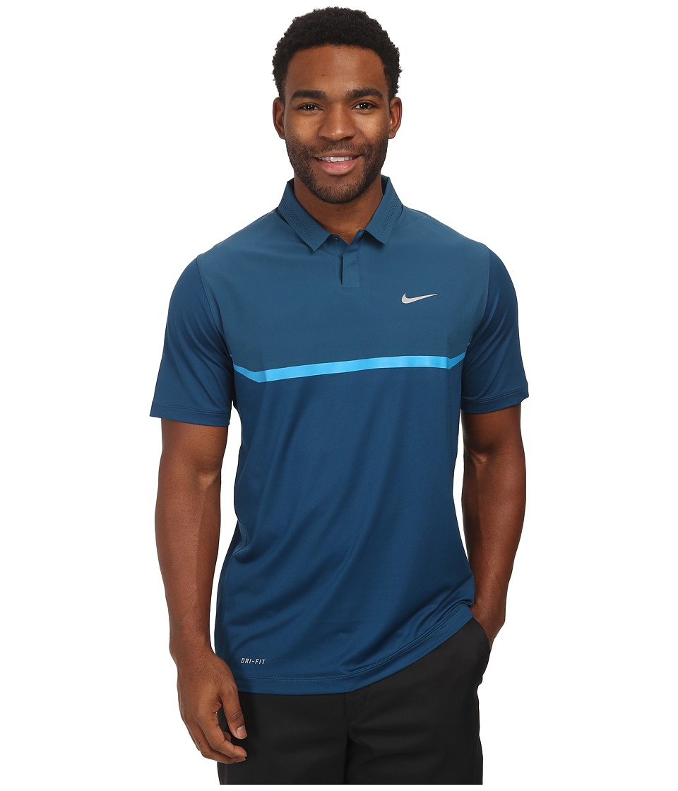 Nike Golf - Elite Cool Carbon Polo (Blue Force/Light Blue Lacquer/Wolf Grey) Men