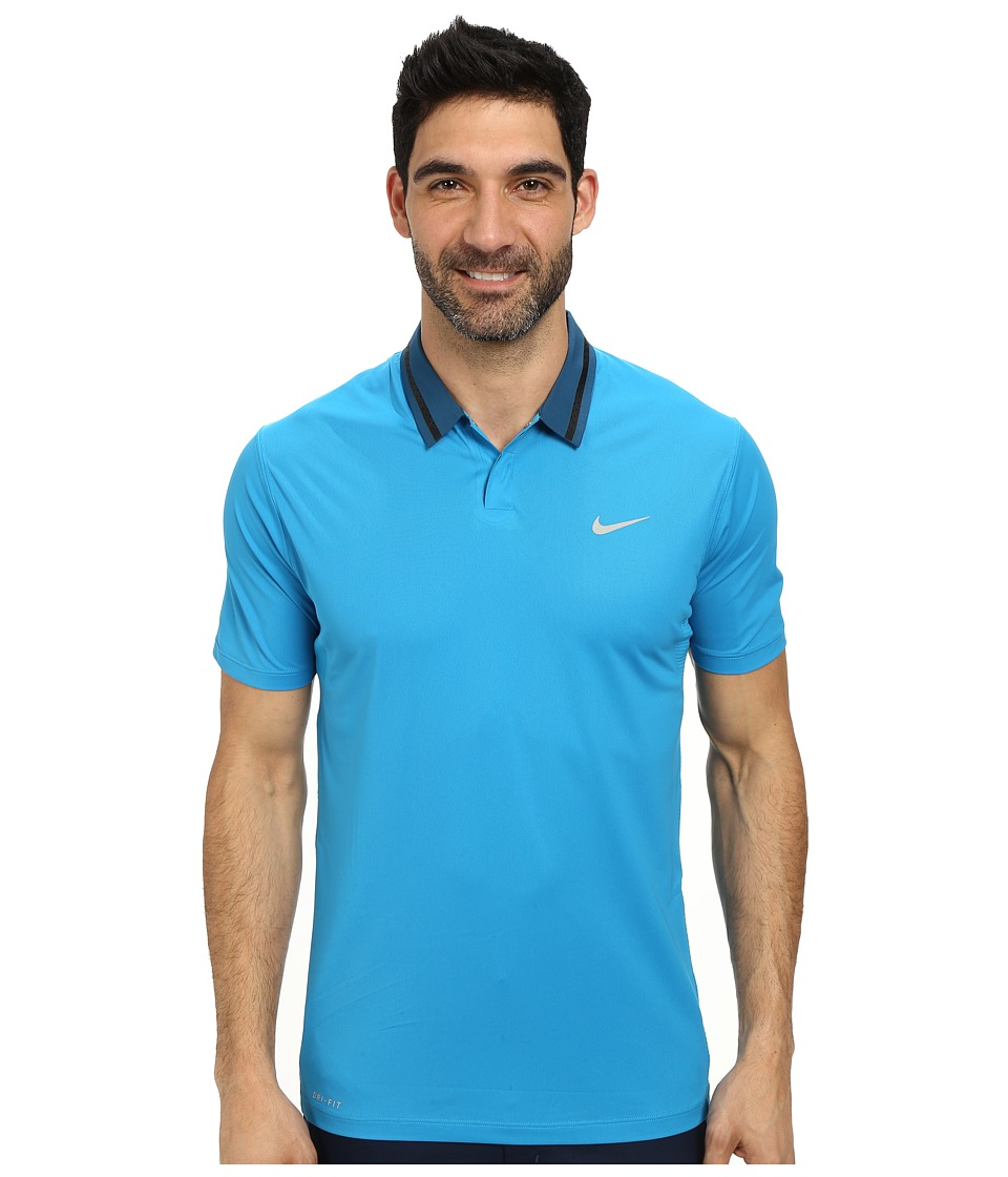 Nike Golf - Tiger Woods Ultra Polo 3.0 (Light Blue Lacquer/Black/Light Blue Lacquer/Metallic Silver) Men's Short Sleeve Knit