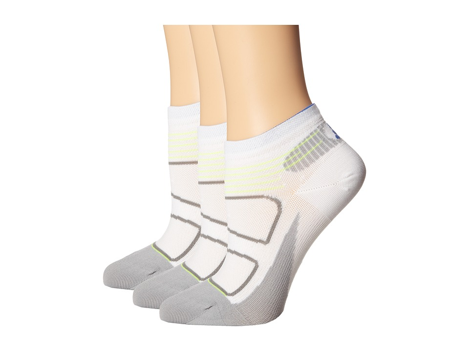 Feetures - Elite Ultra Light Low Cut - 3pk (White/Olympian Blue) Low Cut Socks Shoes
