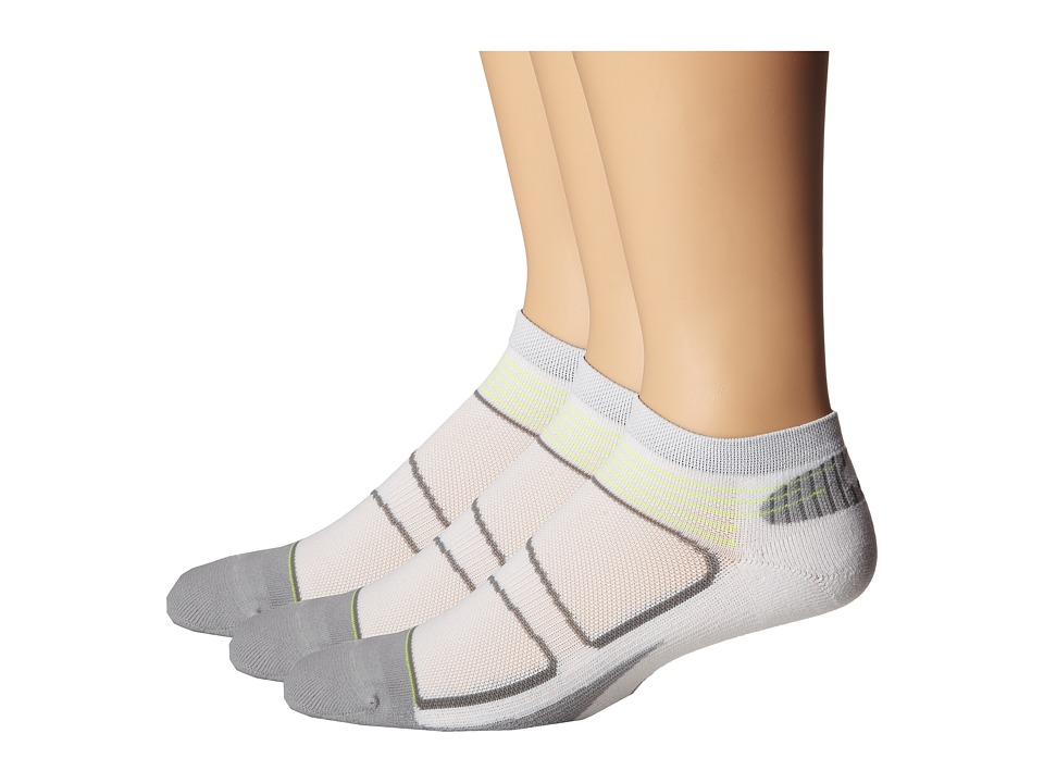 Feetures - Elite Light Cushion Low Cut 3-Pair Pack (White/Black) Low Cut Socks Shoes