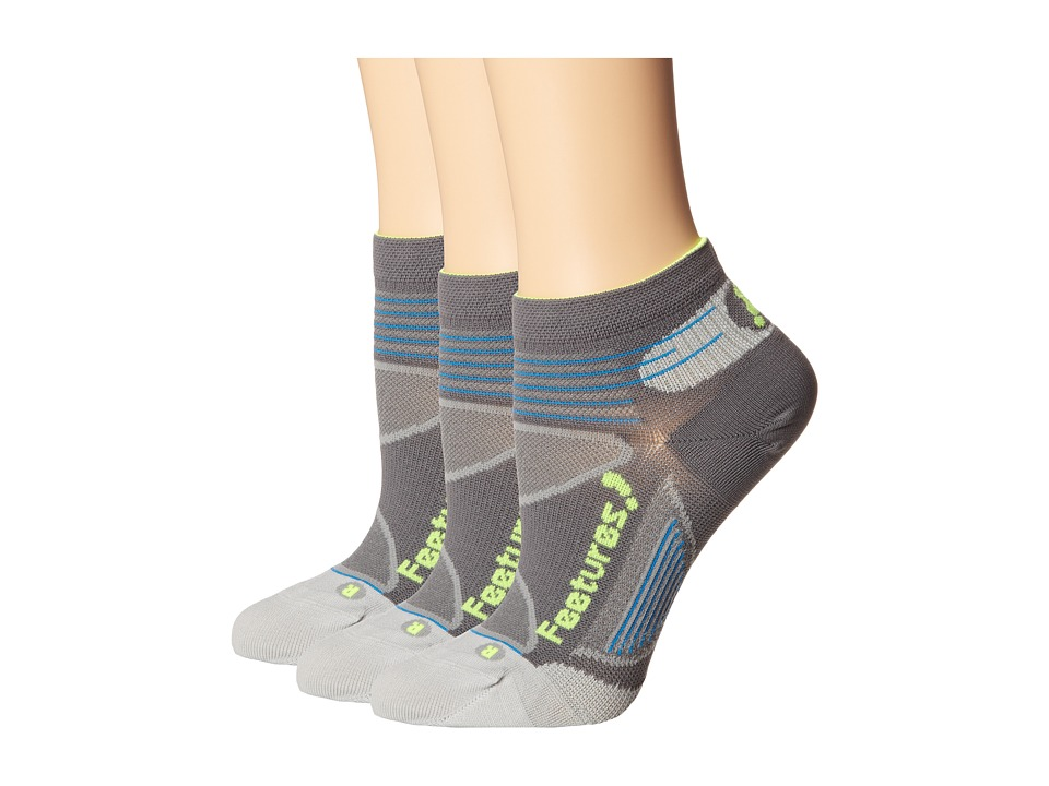 Feetures - Elite Ultra Light Low Cut - 3pk (Graphite/Reflector) Low Cut Socks Shoes