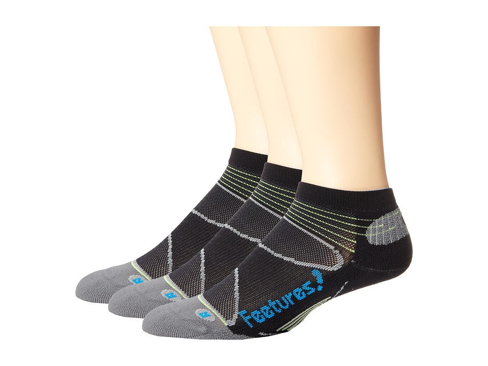 Feetures - Elite Light Cushion Low Cut 3-Pair Pack (Black/Brilliant Blue) Low Cut Socks Shoes